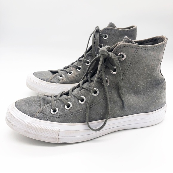 Gray Shimmer Suede Converse High Tops Chuck Taylor